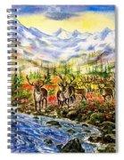 Reindeer Herd At The Watering Hole. Spiral Notebook