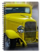 Retro Car In Yellow Spiral Notebook