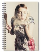 Retro Cooking Woman Giving Recipe Kiss Spiral Notebook