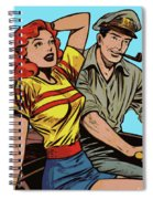 Retro Couple On Boat Comic Style Spiral Notebook