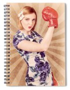 Retro Pinup Boxing Girl Fist Pumping Glove Hand  Spiral Notebook
