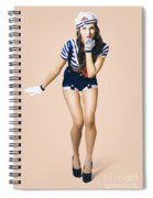 Retro Pinup Girl Blowing Travelling Departure Kiss Spiral Notebook