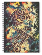 Retro Pop Art Owls Under Floating Feathers Spiral Notebook