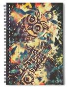 Retro Pop Art Owls Under Floating Feathers Spiral Notebook