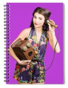 Retro Receptionist On Vintage Telephone. Call Us Spiral Notebook