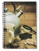 Retro Vintage Toned Tea Still Life In Crate Spiral Notebook