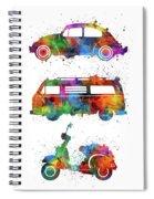 Retro Wheels Watercolor Spiral Notebook