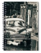 Retromobile. Morris Minor. Vintage Monochrome Spiral Notebook