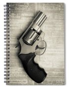 Revolver Pistol Gun Over Drawings Spiral Notebook