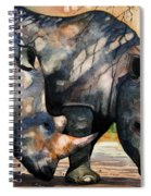Rhinos In Dappled Shade. Spiral Notebook
