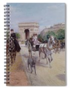 Riders And Carriages On The Avenue Du Bois Spiral Notebook