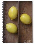 Ripe Lemons In Wooden Tray Spiral Notebook