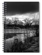 River With Dark Cloud In Black And White Spiral Notebook