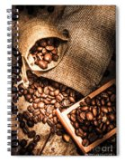 Roasted Coffee Beans In Drawer And Bags On Table Spiral Notebook