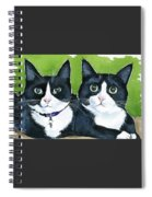 Robin And Batcat - Twin Tuxedo Cat Painting Spiral Notebook
