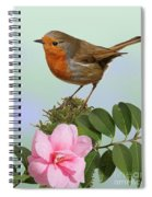 Robin And Camellia Flower Spiral Notebook