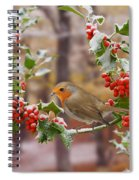 Robin On Holly Twigs Spiral Notebook