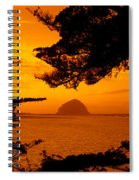 Rock In A Lake At Dusk, Morro Rock Spiral Notebook