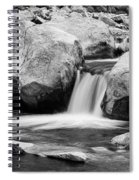 Rocky Mountain Canyon Waterfall In Black And White Spiral Notebook