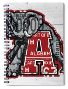 Roll Tide Alabama Crimson Tide Recycled State License Plate Art Spiral Notebook
