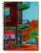Rollerblading  Past The Cafe Spiral Notebook
