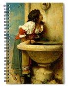 Roman Girl At A Fountain Spiral Notebook