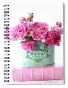 Paris Red Pink Peonies Maison Flowers Pink Book - French Aqua Pink Peonies Books Wall Decor Spiral Notebook