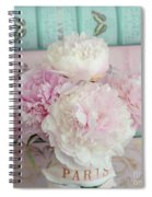 Paris Peonies Floral Books Art - Pink And Aqua Peonies Books Decor - Shabby Chic Peonies  Spiral Notebook