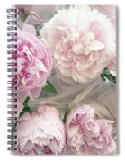Romantic Shabby Chic Pastel Pink Peonies Bouquet - Romantic Pink Peony Flower Prints Spiral Notebook