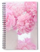 Shabby Chic Pastel Pink Peonies - Pink Peonies In White Mason Jars Spiral Notebook