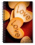 Romantic Wooden Hearts Spiral Notebook