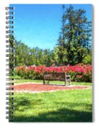 Rose Garden Benches Impressionist Digital Painting Spiral Notebook