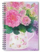 Roses In A Pink Floral Jug Spiral Notebook