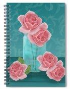 Roses In Clear Blue Jar Spiral Notebook