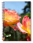 Roses Yellow Roses Pink Summer Roses 4 Blue Sky Landscape Baslee Troutman Spiral Notebook