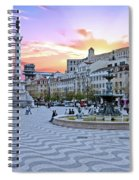 Rossio Square In Lisbon Portugal At Sunset Spiral Notebook