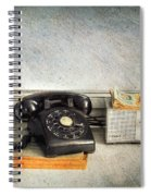 Rotary Dial Phone In Black S And H Stamps Spiral Notebook