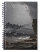 Rough Sea With A Steamer Near The Coast Of Norway Spiral Notebook