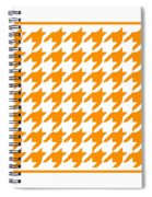 Rounded Houndstooth With Border In Tangerine Spiral Notebook
