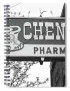 Route 66 - Chenoa Pharmacy Bw Spiral Notebook
