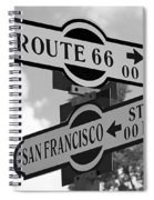Route 66 Street Sign Black And White Spiral Notebook