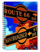 Route 66 Street Sign Stylized Colors Spiral Notebook