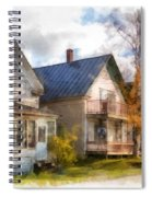 Row Of Houses Hardwick Vermont Watercolor Spiral Notebook
