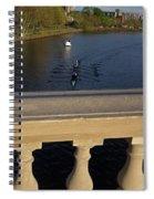 Rowinfg Towards The Weeks Bridge Charles River Harvard Square Cambridge Ma Spiral Notebook