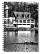 Rowing Past Turtle Rock Light House In Black And White Spiral Notebook