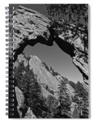 Royal Arch Trail Arch Boulder Colorado Black And White Spiral Notebook