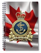 Royal Canadian Navy  -  R C N  Badge Over Canadian Flag Spiral Notebook