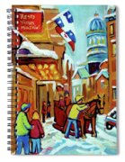 Rue St Paul Montreal Streetscene Cafes And Caleche Spiral Notebook