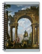Ruins With The Statue Of Marcus Aurelius Giovanni Paolo Panini Spiral Notebook