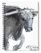 Running Texas Longhorn Watercolor Painting By Kmcelwaine Spiral Notebook